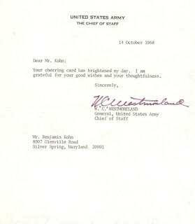 GENERAL WILLIAM C. WESTMORELAND - TYPED LETTER SIGNED 10/14/1968