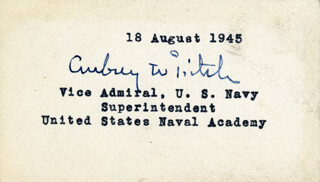 VICE ADMIRAL AUBREY W. FITCH - AUTOGRAPH 08/18/1945