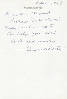 GENERAL CHARLES L. BOLTE - AUTOGRAPH LETTER SIGNED 01/09/1968