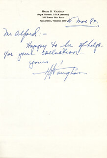 GENERAL HARRY H. VAUGHAN - AUTOGRAPH LETTER SIGNED 03/15/1972
