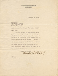 Autographs: ADMIRAL MARK L. BRISTOL - TYPED LETTER SIGNED 02/06/1937
