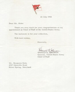 GENERAL HAROLD K. JOHNSON - TYPED LETTER SIGNED 07/22/1964