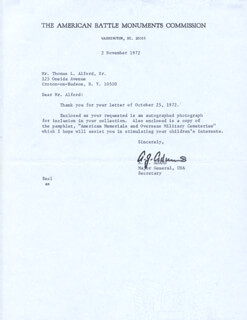 Autographs: MAJOR GENERAL ANDREW J. ADAMS - TYPED LETTER SIGNED 11/02/1972