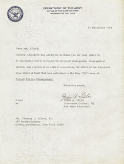 LT. COLONEL JOHN A. ISLIN - TYPED LETTER SIGNED 12/13/1968