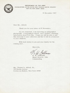 MAJOR GENERAL K. W. COLLINS - TYPED LETTER SIGNED 12/19/1967