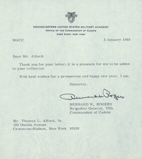 GENERAL BERNARD W. ROGERS - TYPED LETTER SIGNED 01/03/1968