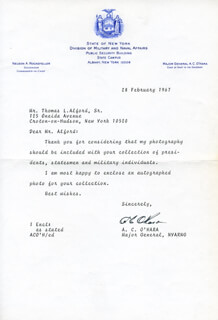 MAJOR GENERAL ALMERIN C. O'HARA - TYPED LETTER SIGNED 02/28/1967