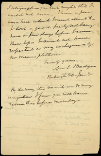 GEORGE E. BADGER - AUTOGRAPH LETTER SIGNED 1/20