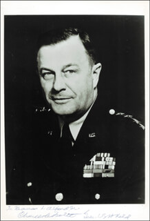 Autographs: GENERAL CHARLES L. BOLTE - INSCRIBED PHOTOGRAPH SIGNED