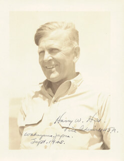 Autographs: VICE ADMIRAL HARRY W. HILL - PHOTOGRAPH SIGNED 9/1945