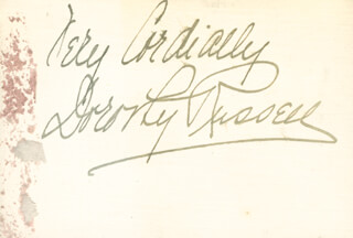 Autographs: DOROTHY RUSSELL - AUTOGRAPH SENTIMENT ON CALLING CARD SIGNED
