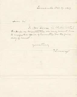 Autographs: THOMAS EWING - AUTOGRAPH NOTE SIGNED 10/17/1839