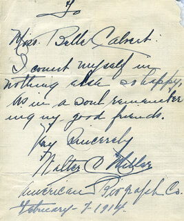 WALTER C. MILLER - AUTOGRAPH LETTER SIGNED 02/07/1914