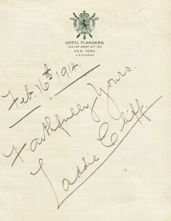 LADDIE CLIFF - AUTOGRAPH SENTIMENT SIGNED 02/16/1914
