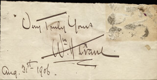 WILLIAM H. CRANE - AUTOGRAPH SENTIMENT SIGNED 08/31/1906