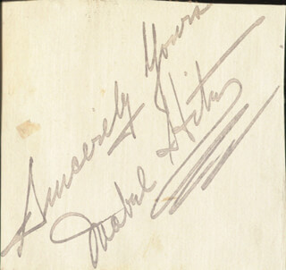 MABEL HITE - AUTOGRAPH SENTIMENT SIGNED
