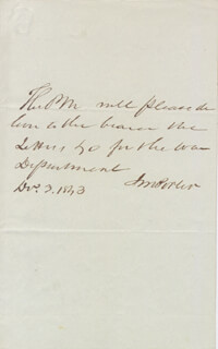 JAMES M. PORTER - AUTOGRAPH NOTE SIGNED 11/03/1843