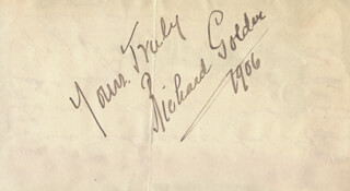 RICHARD GOLDEN - AUTOGRAPH SENTIMENT SIGNED 1906