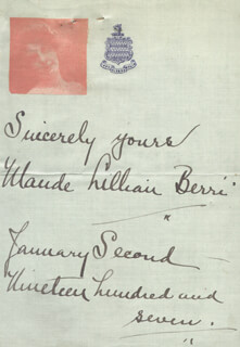 MAUDE LILLIAN BERRI - AUTOGRAPH SENTIMENT SIGNED 01/02/1907