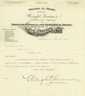 WRIGHT LORIMER - TYPED LETTER SIGNED 10/03/1906
