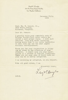 LLOYD C. DOUGLAS - TYPED LETTER SIGNED 12/05/1939