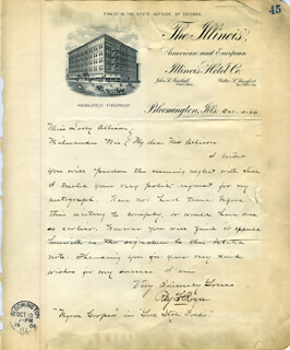 RAY L. ROYCE - AUTOGRAPH LETTER SIGNED 10/10/1906