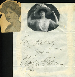 CHARLOTTE WALKER - AUTOGRAPH SENTIMENT SIGNED