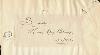 Autographs: HARRY CLAY BLANEY - AUTOGRAPH SENTIMENT SIGNED 10/16/1906