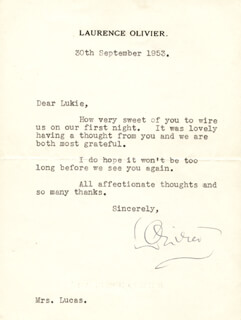 LAURENCE OLIVIER - TYPED LETTER SIGNED 09/30/1953