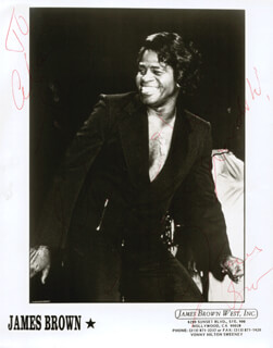 Autographs: JAMES GODFATHER OF SOUL BROWN - INSCRIBED PHOTOGRAPH SIGNED