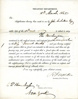 Autographs: ROBERT J. WALKER - DOCUMENT SIGNED 03/12/1845 CO-SIGNED BY: CORNELIUS P. VAN NESS