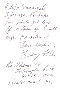BENNY HILL - AUTOGRAPH NOTE ON PHOTOGRAPH SIGNED