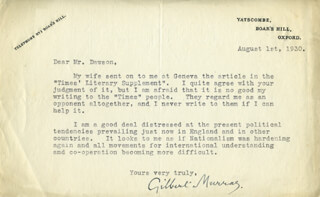 GILBERT MURRAY - TYPED LETTER SIGNED 08/01/1930