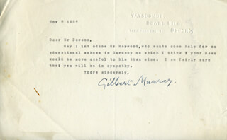 GILBERT MURRAY - TYPED LETTER SIGNED 11/08/1936