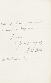 ROBERT WILLIAM DALE - AUTOGRAPH LETTER SIGNED 01/10/1891