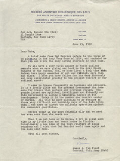 GENERAL JAMES A. VAN FLEET - TYPED LETTER SIGNED 06/29/1972