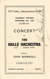 SIR JOHN BARBIROLLI - PROGRAM SIGNED CIRCA 1943