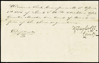 Autographs: PRESIDENT ZACHARY TAYLOR - MANUSCRIPT DOCUMENT SIGNED 04/01/1834