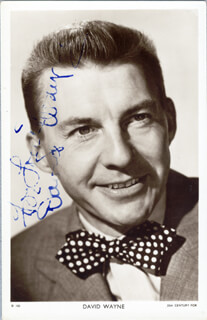 DAVID WAYNE - INSCRIBED PICTURE POSTCARD SIGNED