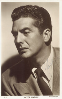 VICTOR MATURE - PICTURE POST CARD SIGNED