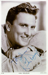KIRK DOUGLAS - INSCRIBED PICTURE POSTCARD SIGNED