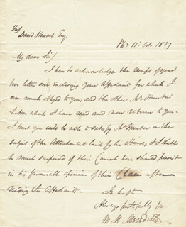 Autographs: WILLIAM M. MEREDITH - AUTOGRAPH LETTER SIGNED 10/11/1837