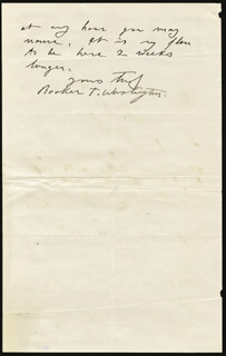 BOOKER T. WASHINGTON - AUTOGRAPH LETTER SIGNED 11/26/1893