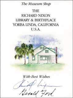 PRESIDENT RICHARD M. NIXON - BOOK PLATE SIGNED CO-SIGNED BY: PRESIDENT GERALD R. FORD