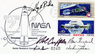 SALLY K. RIDE - FIRST DAY COVER SIGNED CO-SIGNED BY: CAPTAIN NORMAN E. THAGARD, CAPTAIN ROBERT BOB CRIPPEN, COLONEL JOHN M. FABIAN, CAPTAIN FREDERICK RICK HAUCK