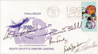 Autographs: CAPTAIN DANIEL C. BRANDENSTEIN - FIRST DAY COVER SIGNED CO-SIGNED BY: WILLIAM E. THORNTON, VICE ADMIRAL RICHARD H. TRULY, COLONEL GUION S. GUY BLUFORD JR., COMMANDER DALE A. GARDNER