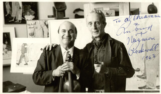 NORMAN ROCKWELL - AUTOGRAPHED SIGNED PHOTOGRAPH 1963 CO-SIGNED BY: DAVID RUBINOFF
