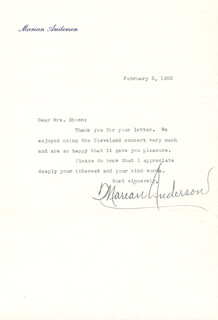 MARIAN ANDERSON - TYPED LETTER SIGNED 02/03/1955