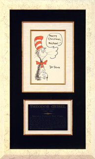 THEODOR DR. SEUSS GEISEL - INSCRIBED PRINTED ART SIGNED IN INK