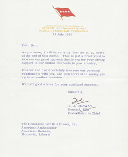 Autographs: T. J. TED CONWAY - TYPED LETTER SIGNED 07/23/1969